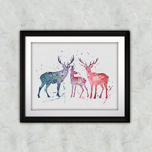 Deer Print, Deer Watercolor, Deer illustration, Deer Painting, Deer Art, Deer Poster, Deer Wall Art, Deer Home Decor, Deer
