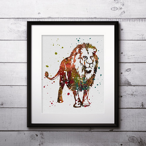Animals Prints Lion, Painting, Print, Watercolor, illustration,Wall Art, poster