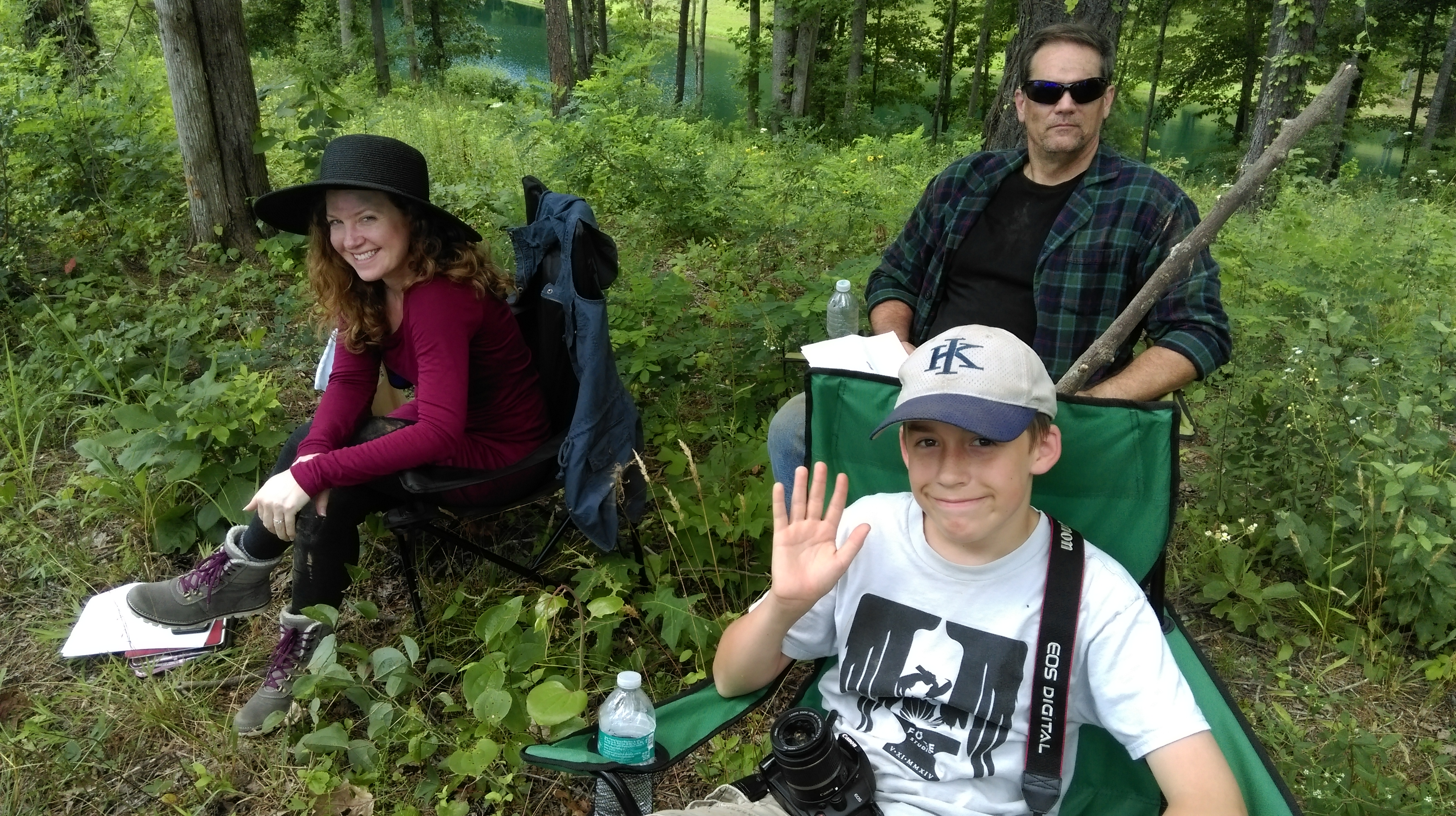 In the woods between takes