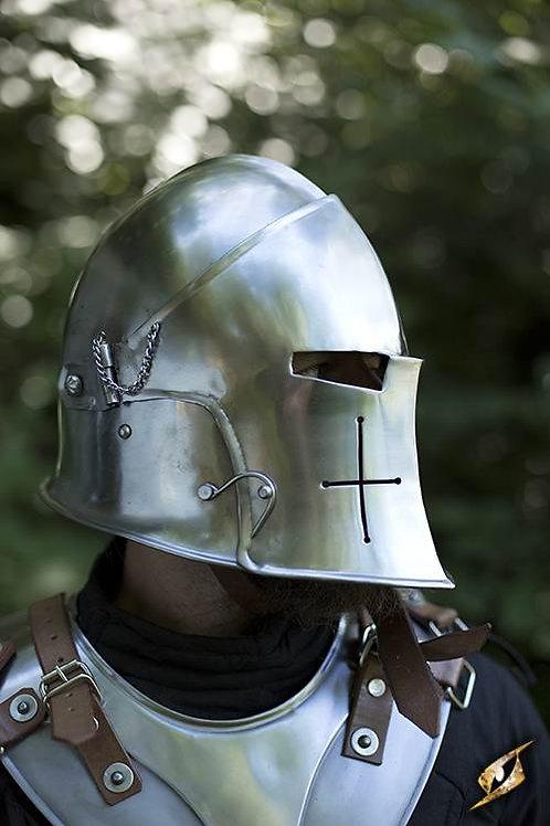 Polished Visored Barbuta Helmet