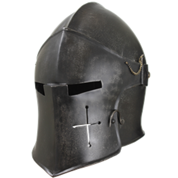Dark Metal Visored Barbuta Helmet