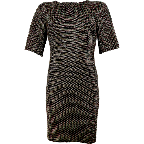 Butted Short Sleeved Blackened Chainmail Hauberk