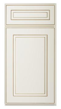 Flat Panel Miter Door - Antique White wi