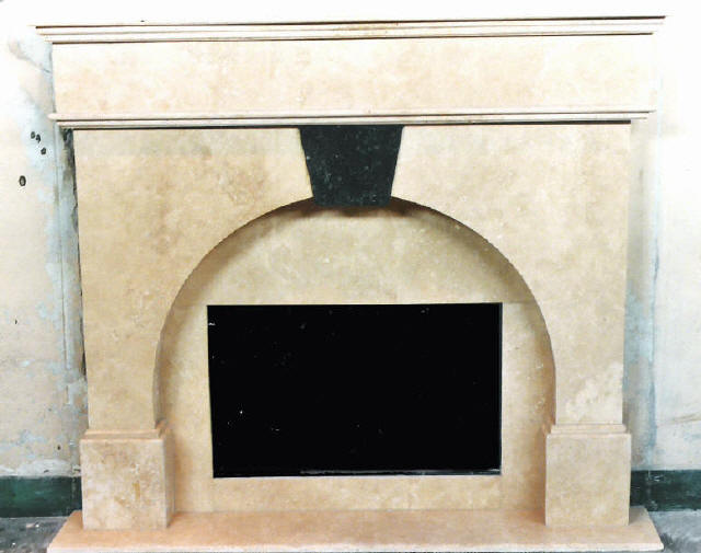 Travertine Fireplace wth Keystone