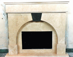 Travertine Fireplace wth Keystone