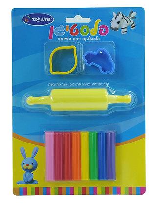 פלסטיגן 8 צבעים +מערוך +שבלונה בבליסטר