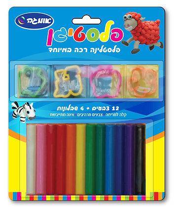 פלסטיגן 12 צבעים + 4 שבלונות בבליסטר