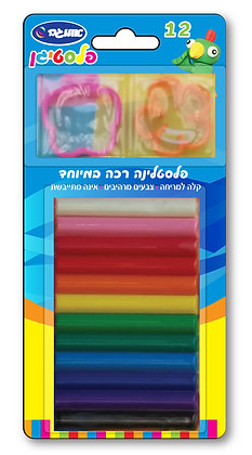 פלסטיגן 12 צבעים + 2 שבלונות בבליסטר