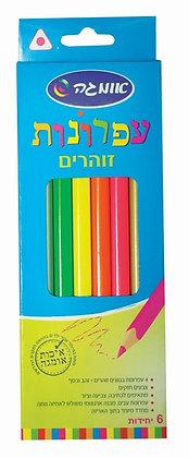עפרונות זוהרים משולשים עבים 6