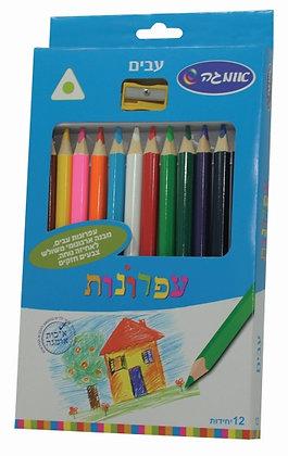 עפרונות צבעוניים משולשים עבים