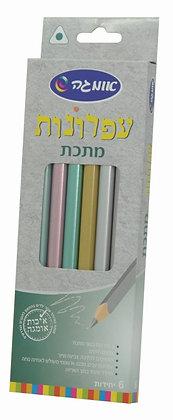 6 עפרונות מתכת משולשים עבים