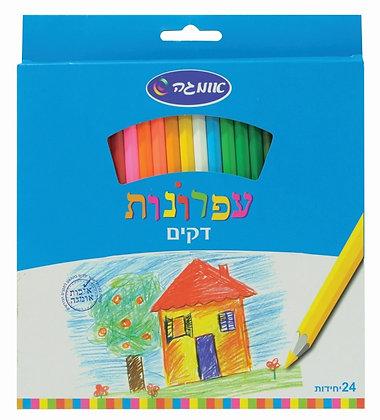עפרונות צבעוניים דקים 24