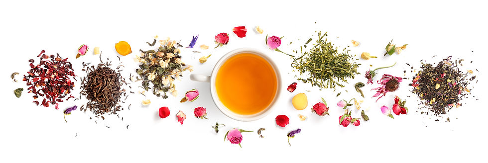 Creative layout made of cup of tea, gree