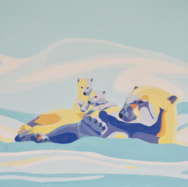 Polar Bears Lounging in the Sun