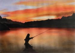 「琥珀色の夢」  パステル画 (55×39㎝)