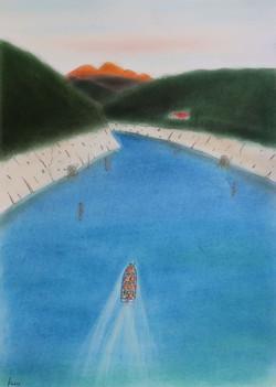 「憧れの黒部の渓へ」  パステル画 (55×39㎝)