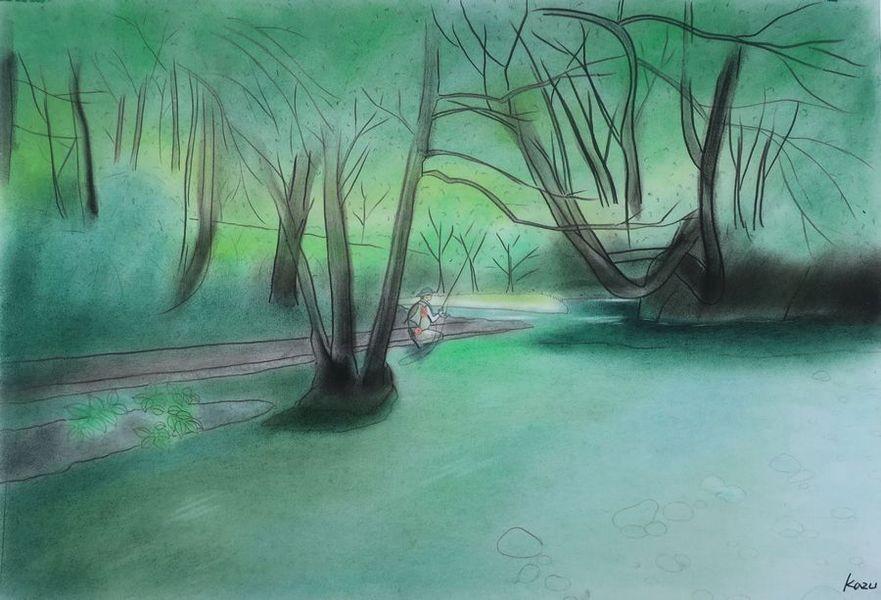 「美しき山女魚の棲む渓へ」  パステル画 50×35㎝