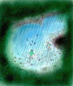 「渓のざわめき」 パステル画 35×30㎝