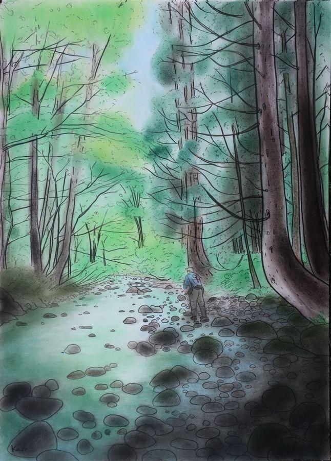 「東北 初めての渓へ」  パステル画(55×39㎝)