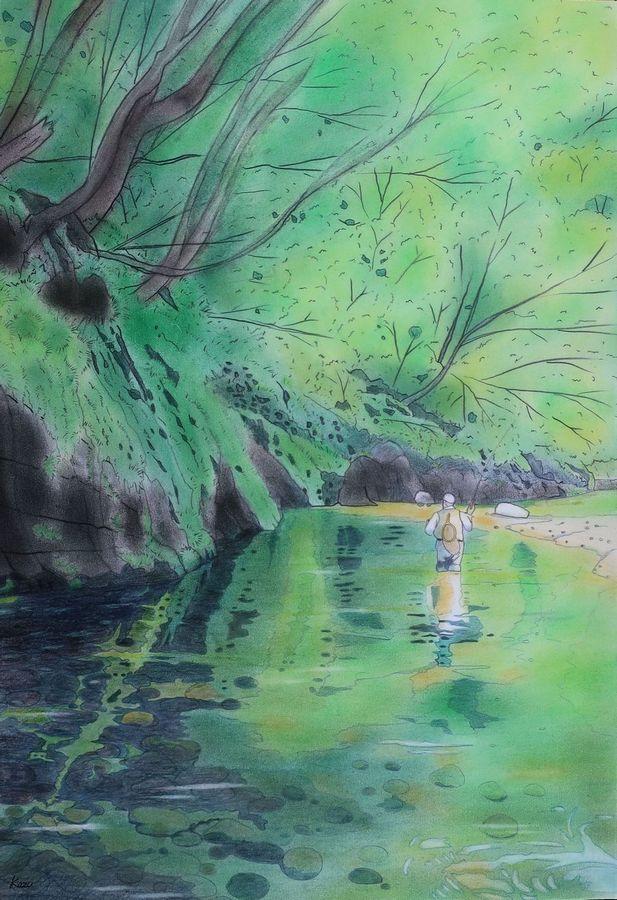 緑に染まる山形の渓 パステル画(50×35㎝)