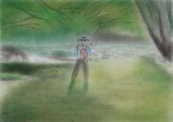 「雨上がりのリベンジ」  パステル画 (55×39㎝)