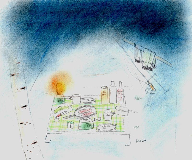 「テント泊釣行♪」  パステル画B5