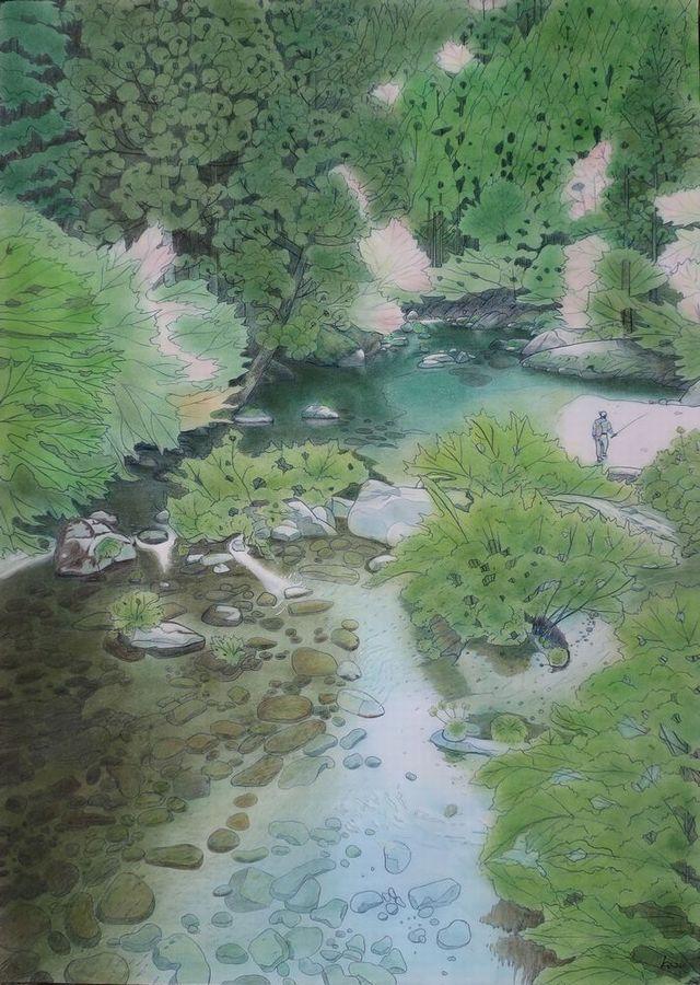 「アマゴ舞う高知の渓の春」パステル画(55×39㎝)