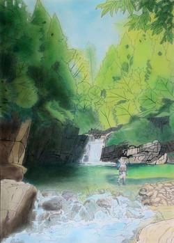 「大物たちがひそむ滝淵」パステル画(55×39㎝)