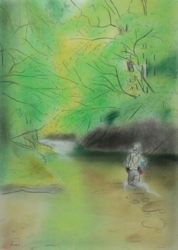「東北の新緑に包まれて」 パステル画(55×39㎝)