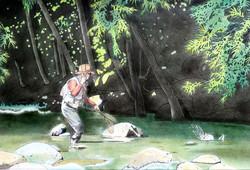 「初めての尺ヤマト」 パステル画(48×33㎝)