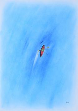 「リバーツーリング」 パステル画 55×39㎝
