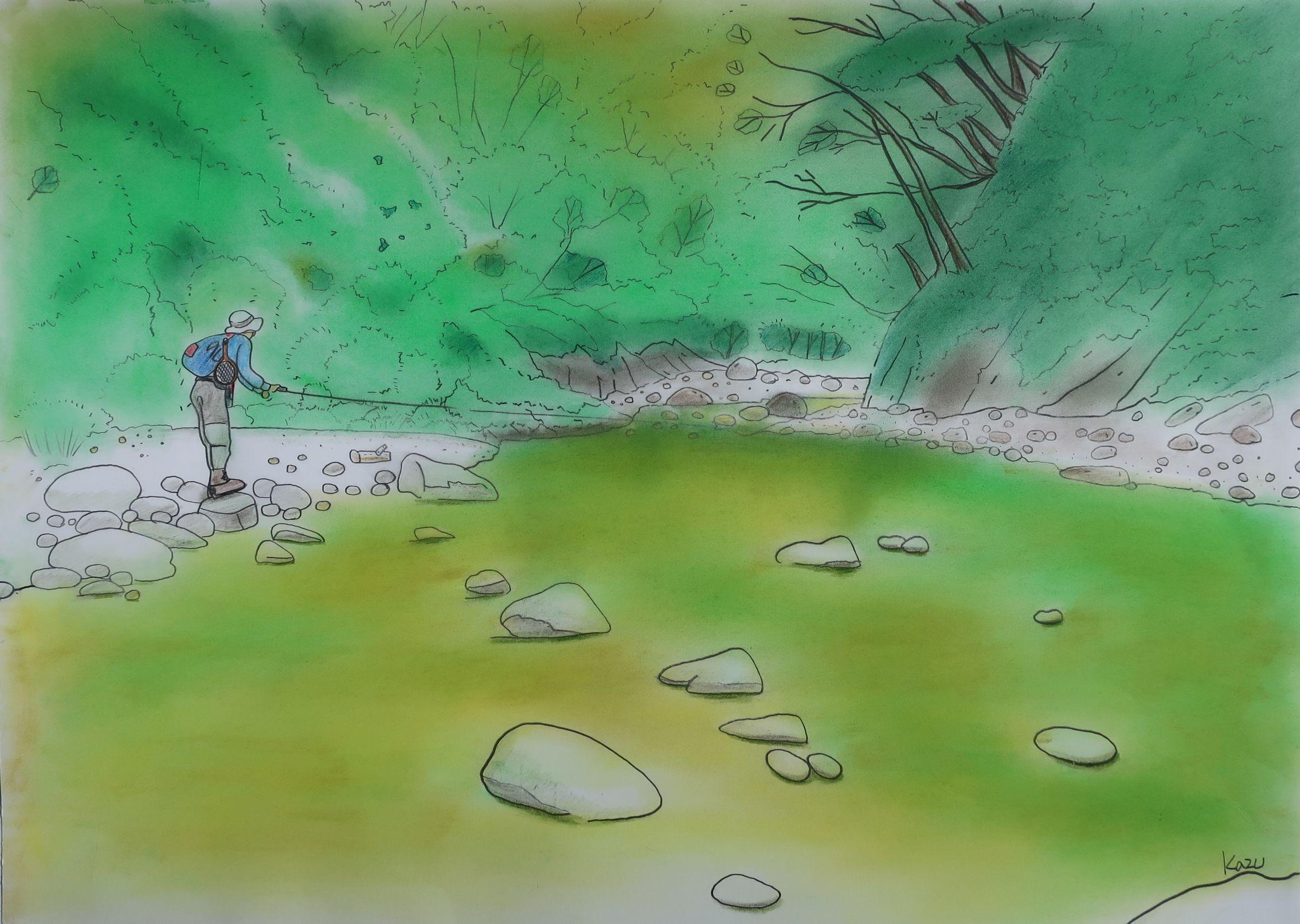今年も憧れのあの渓へ・・。パステル画 57×42㎝