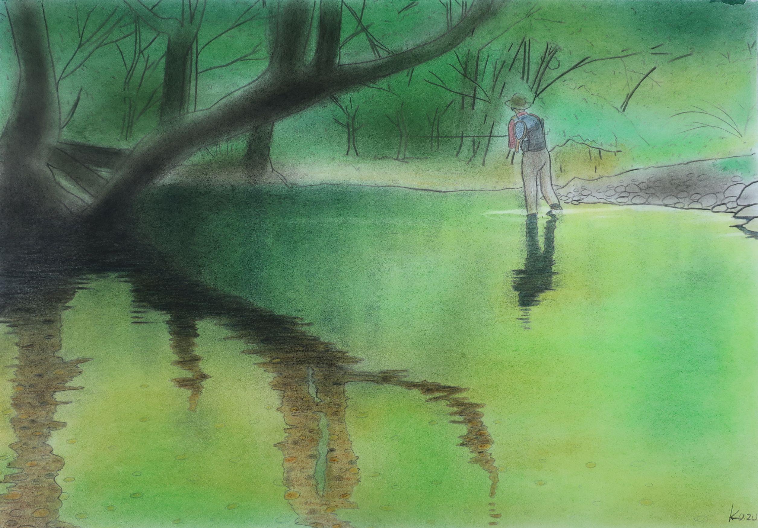 美しき山女魚の棲む渓へ  パステル画 50×35㎝