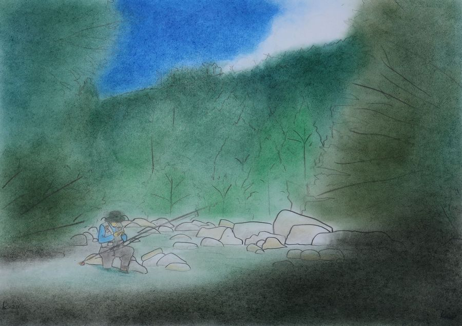 「おじさん達の夏休み キャンプ釣行」 パステル画 42×30㎝