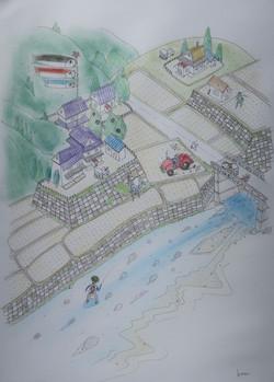 「アマゴ舞う高知の里山の春」  パステル画 55×39㎝