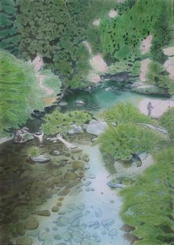 「アマゴ舞う高知の渓の春」 パステル画(55×39㎝)