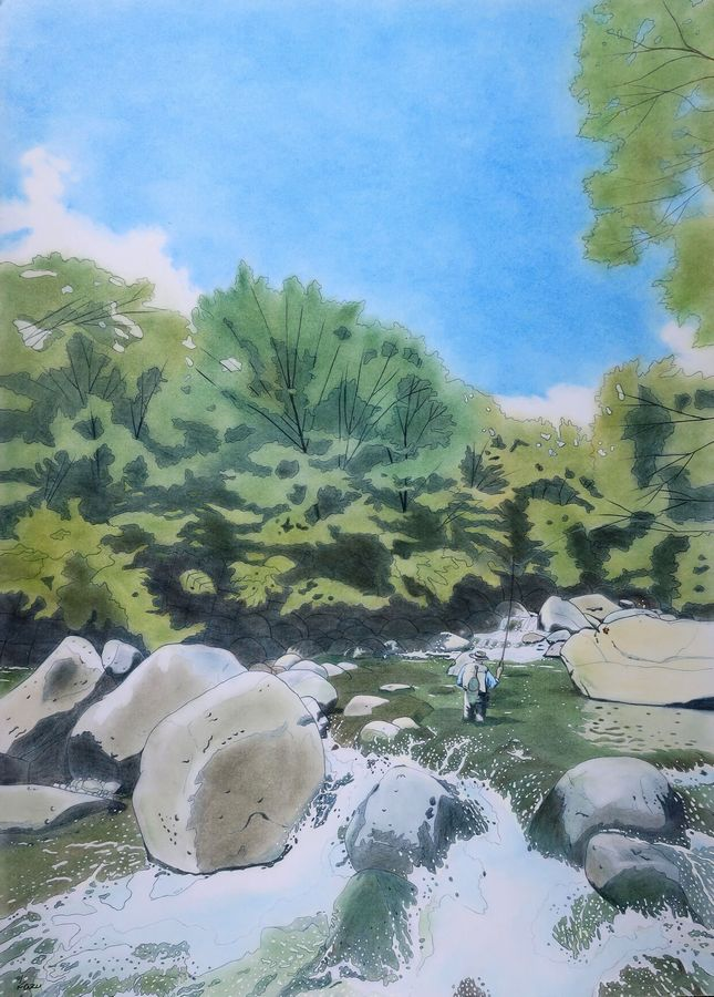「イワナの夏」パステル画(55×39㎝)