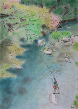 「四国の美渓でアマゴ釣り」 パステル画 (55×39㎝)
