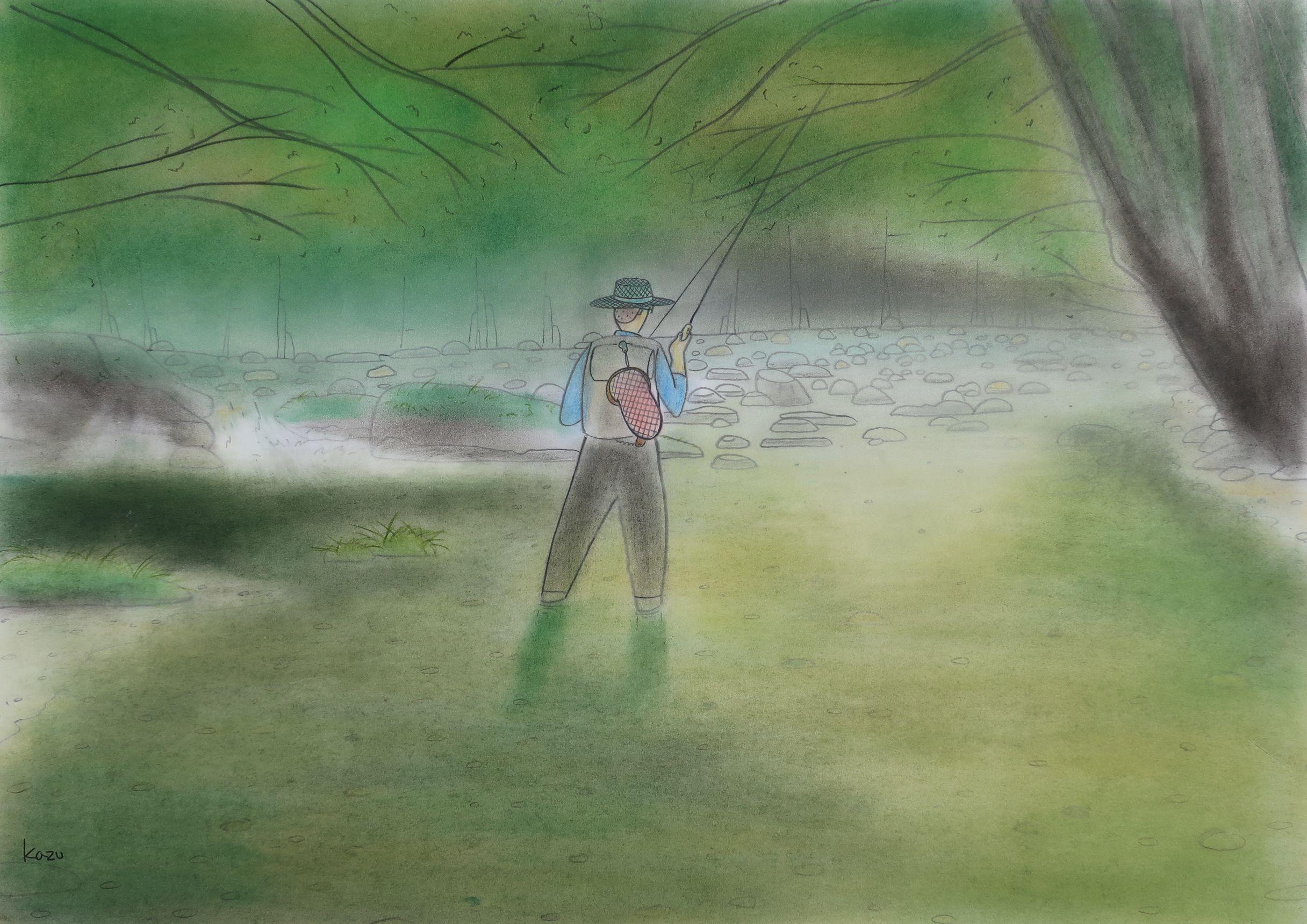 雨上がりのリベンジ パステル画 57×42㎝