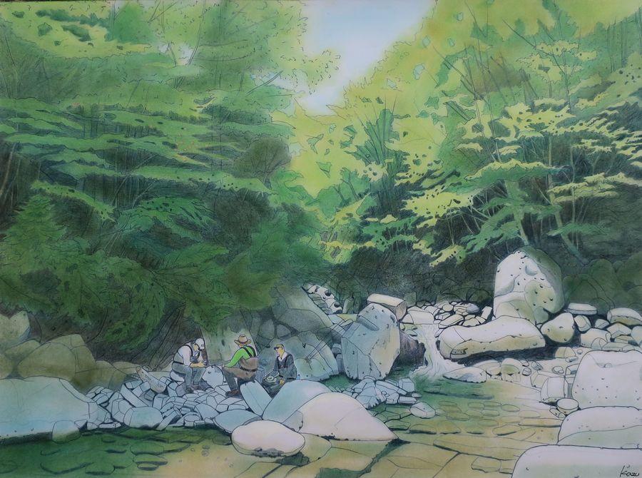 「御岳の麓でタナビラ釣り」 パステル画(47×35㎝)