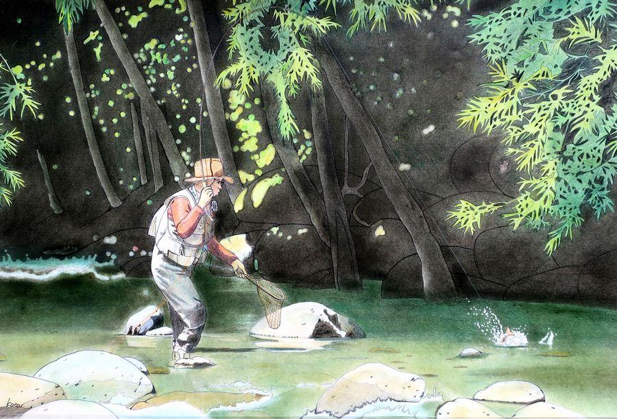 「初めての尺ヤマト」パステル画(48×33㎝)