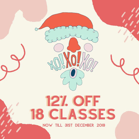 12% OFF 18 class credits from now till 31st Dec!