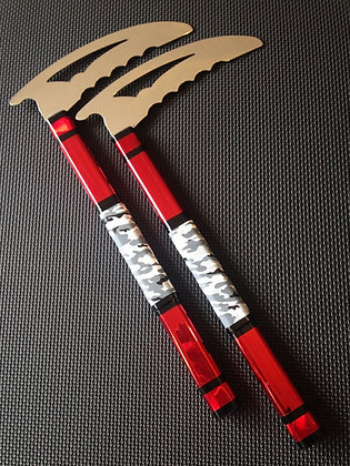 12 Inch Red & Grey Camo Kamas - Shredder Head