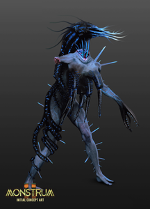 Another monster concept. This time, the monster is entirely blue, and is covered in spines. One of their hands has turned into a claw, with spines that almost resemble teeth.