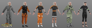 6 outfit concepts, displayed on a white, elderly gentleman. They have a more aquatic theme, displaying looks such as a divers suit, and a life jacket.