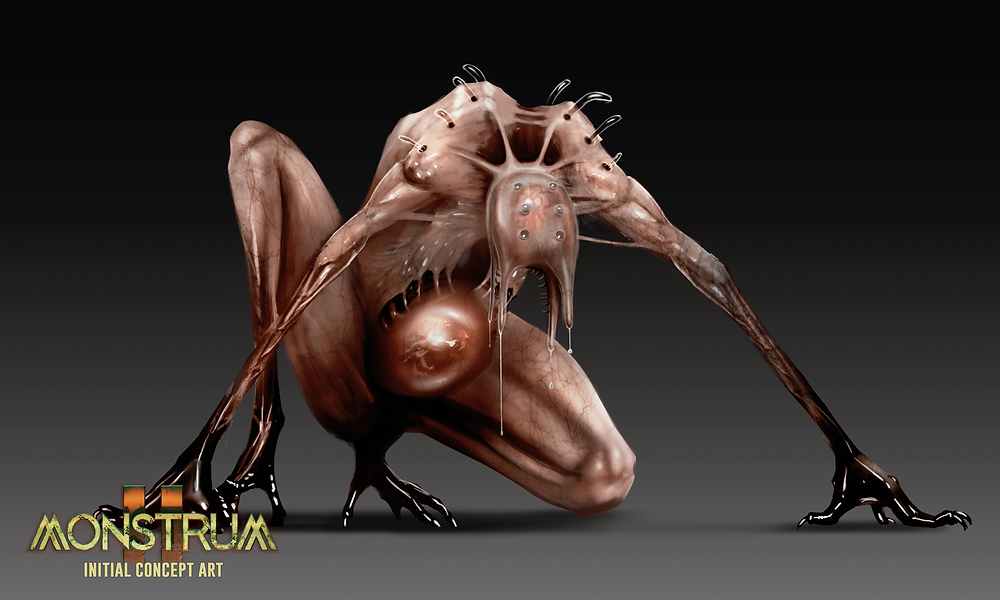 A monster concept, featuring a spindly, fleshy creature crouching forward on all fours, with their arms spread either side of themselves.