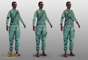 3 more outfit concepts, on the same dark-skinned androgynous model. They show variations of the same base look - a medical green experimentation suit.