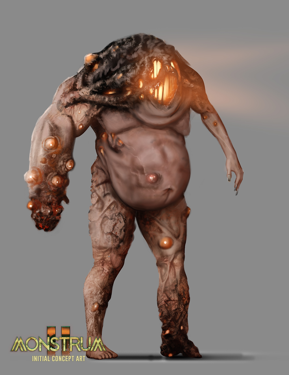 A concept for a new version of the Brute from the original Monstrum. This one features a more humanoid, rotund stomach, a hunchback, and a more oozing face.