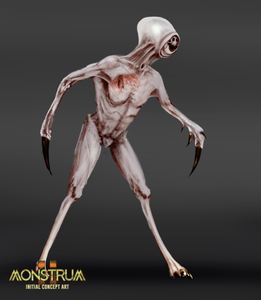 A monster concept, showing a pale creature with talons for hands, and incredibly taught skin. Their head is almost entirely covered by smooth white flesh, with only a horrifying small face protruding from the front.