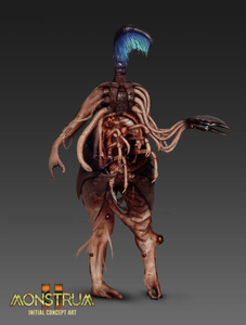 A grotesque monster concept based on sea creatures. All of their appendages have half formed between hands and claws, and they have many insectoid limbs protruding from their stomach. In place of a head, there is some form of feathered, glowing sea creature.
